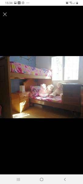 Juego dormitorio niños roble con chifonier mesa de luz u baulera