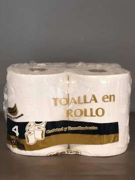 Toalla blanca pack x 4 unidades x 200 mts. c/u