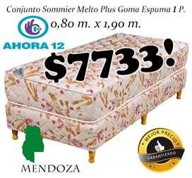 DIA DEL NIÑO!! Sommier mas colchon Plus 1 plaza. Cama o Conjunto Somier! EN MENDOZA! WHATSAPP 261- 460- 7416 mza500