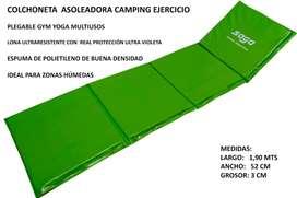 COLCHONETA ASOLEADORA CAMPING EJERCICIO PLEGABLE GYM MULTIUSOS LONA UV