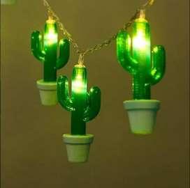 Guirnalda 10 Cactus Usb Y Pilas De Luces Luz Led Calida Deco