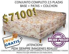 ENVÍO GRATIS y EL MEJOR PRECIO! SOMMIER COMPLETO 2 PLAZAS 1/2 GOMA ESPUMA. TEL WHATSAPP (261)4607416. COLCHON MAS CAMA