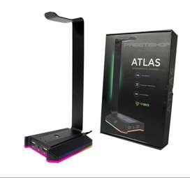 Soporte Atlas Vsg Para Audifonos Rgb Puertos Usb Y Jack 3.5
