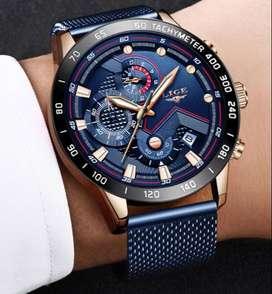 Reloj watch de pulsera acero inoxidable hombre mujer azul rosado oro