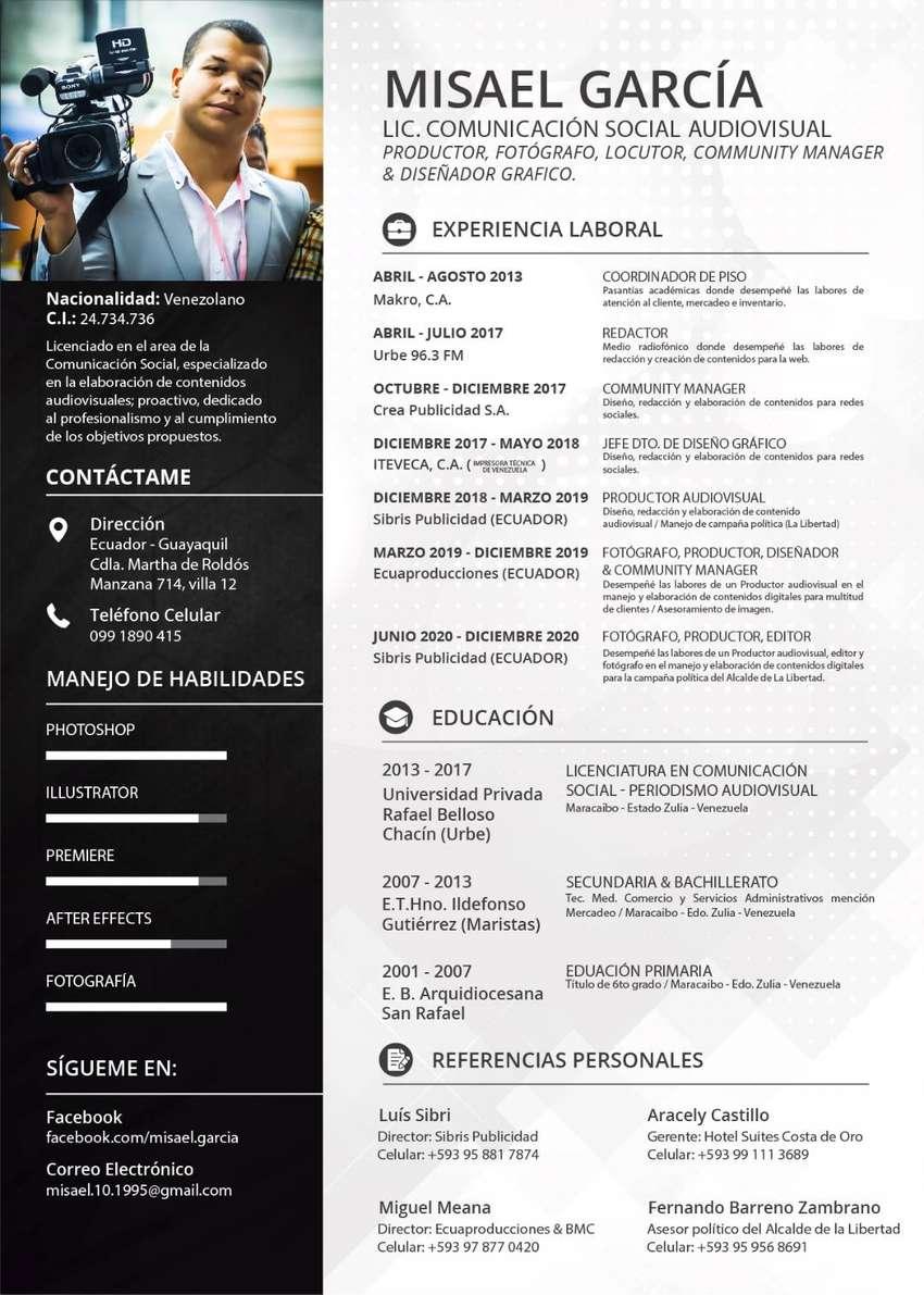 Busco empleo como Community Manager, Diseñador Grafico, Fotógrafo y productor audiovisual 0