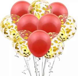 Vendo set de globos confeti rojo y dorado