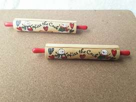 2 Rodillos Decorativos Pequeños Navideños En Madera 20 Cms