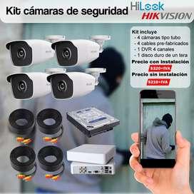 Camaras de seguridad cctv promocion hikvision con  disco duro monotorea desde el telefono celular