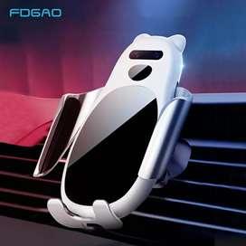 Cargador inalámbrico y soporte del celular  para el auto con sensor inteligente y sujecion automatico .