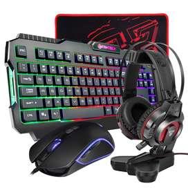 Combo Gamer Marca Fantech, Teclado, Mouse, Diadema, Soporte Para Diademas, Pad Mouse. (P51)