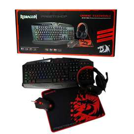 Combo Gamer 4en1 Redragon Essentials Teclado Rgb Mouse