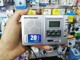 Radio Reloj Digital Portatil Baterias Básico 9 Bandas Am Fm Premier original con estuche