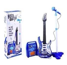 Juguete Guitarra Eléctrica Con Amplificador Micrófono Niños