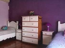 Juego de dormitorio infantil/juvenil de madera blanca