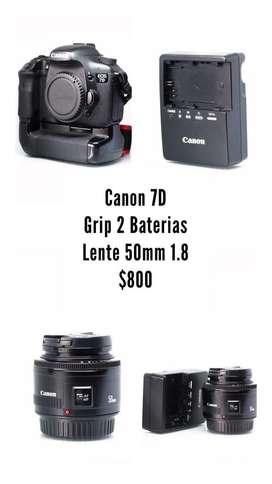 Canon 7D  Grip 2 Baterias  50Mm 1.8