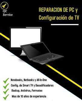 REPARACION DE PC Y Configuracion de tv a domicilio