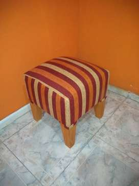 puff madera y chenille