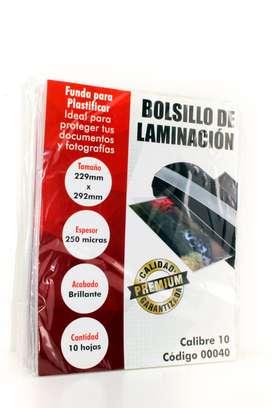 Bolsillo Laminación Carta CL 10 Super Adhesivo x 30 Unid