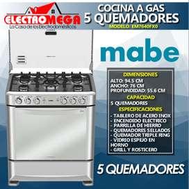 Cocina Mabe A Gas 5 Quemadores Grill 76cm Acero Inox Em7640