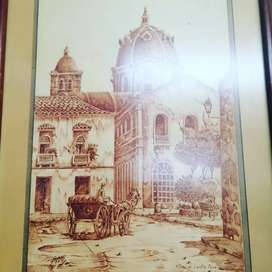 Cuadro pirograbado plaza de Santa Teresa cartagena de indias