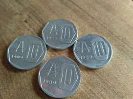 Lote 4 Monedas de 10 Australes! Impecables!