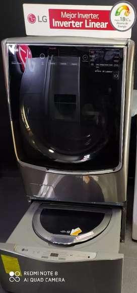 Lavadora secadora LG 2 en 1 48 libras con la twin wash (producto de exhibición )