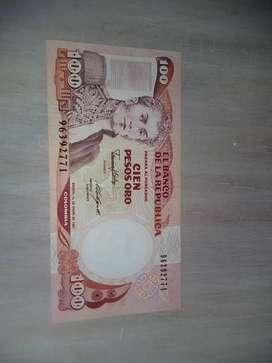 Billete de cien pesos oro de 1987