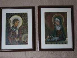 San Agustín y Santa Moníca - pinturas al oleo.