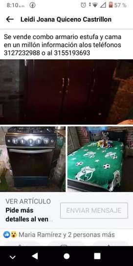 Cama  armario y estufa
