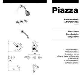 Grifería Piazza Thema Ducha Bañera Baño Cierre Cerámico