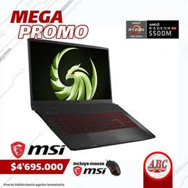 "Portatil Gamer Msi Bravo17 Ryzen7 4800H 16gb 512Ssd + 1tb Dd Ram Rx5500 17.3"" Ips 144hz + Mouse Gamer"