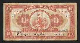 Peru Billete , 10 Soles , 1956 , 1967 y 1976