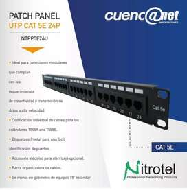PATCH PANEL UTP CAT5E 24 PUERTOS 110IDC T568 A/B NITROTEL