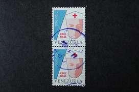 BLOCK 2 ESTAMPILLAS VENEZUELA, 1975, CRUZ ROJA VENEZOLANA, USADAS