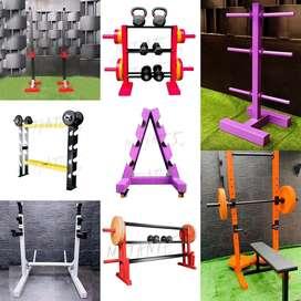 Racks para discos  , mancuernas , barras , pesas, sentadilla y organizadores