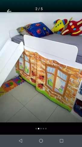 Gangazo cama niño y niña con resbalador y casita