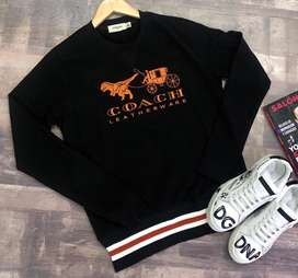 Buzos Coach Negro Naranja Leatherware Algodon Envio Gratis