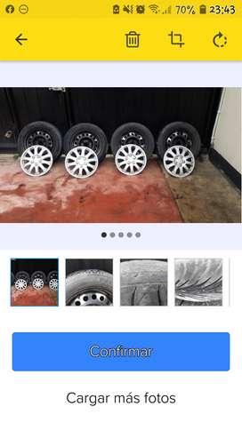 """Set de rines de acero 14"""" con neumáticos"""