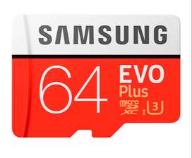 Tarjeta de memoria MicroSD Samsung Evo Plus 64GB Clase10 U3 4K (Para Celulares, Cámaras, etc) con adaptador SD