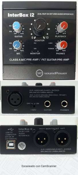 Interfaz de Audio para grabación 2 y 4 entradas salidas balanceadas