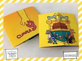 Souvenirs Tarjeta Infantil Los Simpsons Homero personalizada invitacion Bart Lisa cumple