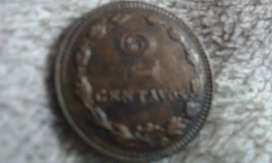 Moneda Argentina De 2 Centavos Año 1942 Cobre