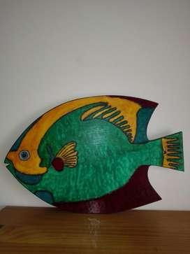 Porta caliente en MDF diseño pez y cuadro