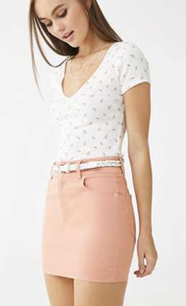 Minifalda Forever 21. Color Salmón.