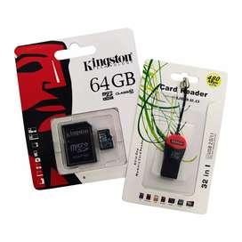 Combo Memoria Micro SD 64 GB + Adaptador SD +  Adaptador USB