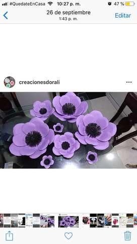 Hermosas flores en cartulina