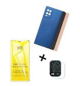 Estuche Xiaomi Mi 10 Lite Silicona + Vidrio Templado 9d + Protector Camara