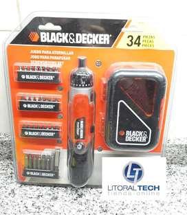 Atornillador inalámbrico con juego de puntas. Black&Decker 3,6V