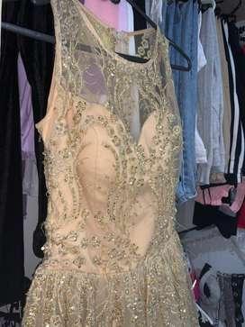 Vestido Dorado Elegante Quinceañero