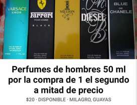 Promocion por la compra de 1 perfume de hombre 50 ml el 2do a mitad de precio